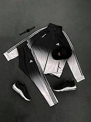 Спортивный костюм Адидас черно-белого цвета