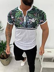 Мужская футболка бело-зеленого цвета с листами