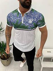 Мужская футболка бело-голубого цвета с листами