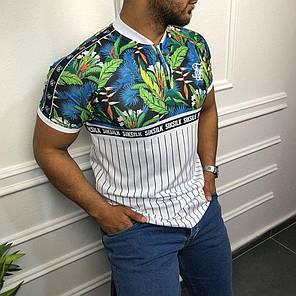 Чоловіча футболка біло-чорного кольору з квітами, фото 2