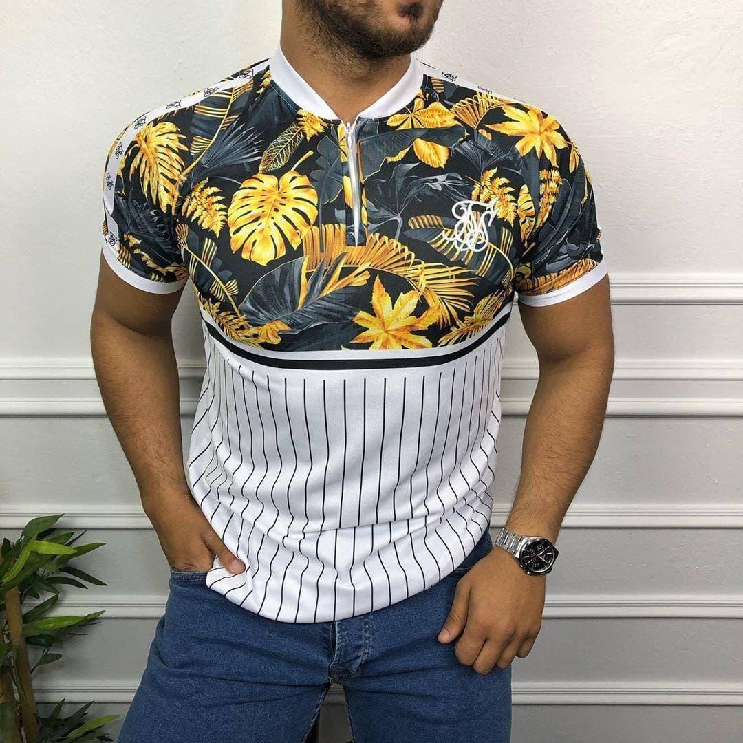 Чоловіча футболка біло-жовтого кольору з листами