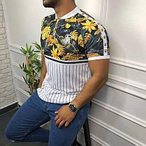 Чоловіча футболка біло-жовтого кольору з листами, фото 3