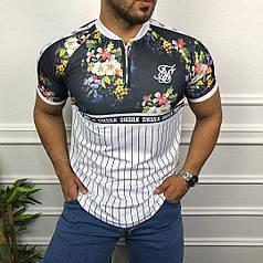 Мужская футболка бело-черная с цветами