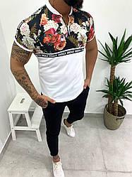 Мужская футболка бело-черная с розами