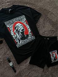 Мужской спортивный комплект футболка+шорты черного цвета
