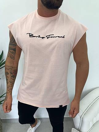 Мужская футболка розового цвета с коротким рукавом, фото 2