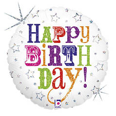 "Круг 18"" GRABO-ГР Happy Birthday - разноцветные буквы на белом (УП)"
