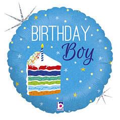 "Круг 18"" GRABO-ГР Birthday Boy - торт на голубом (УП)"