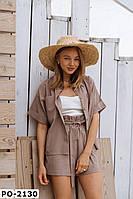 Женский стильный летний льняной костюм с шортами и пиджаком