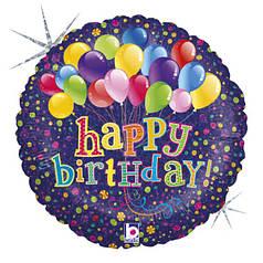 """Круг 18"""" GRABO-ГР Happy Birthday - шарики на синем (УП)"""