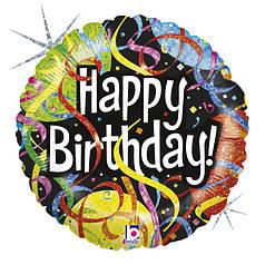 """Круг 18"""" GRABO-ГР Happy Birthday - серпантин на черном (УП)"""