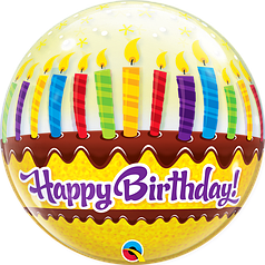 """Бабл 22"""" QUALATEX-КВ Happy Birthday - cвечи (УП)"""