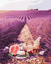 Картина по номерам Rainbow Art В лавандовых полях GX40861-RA Лаванда Пейзаж Природа Еда Натюрморт Прованс