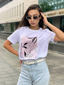 Модная однотонная футболка с рисунком растений 42-48 р