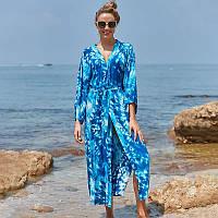 Бавовняна пляжна туніка халат з поясом синього кольору