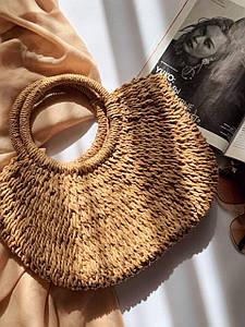Жіноча солом'яна сумка.Солом'яна сумка для пляжу.Жіноча сумка солом'яний плетені річна бежева
