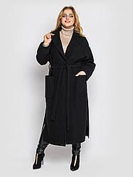 Пальто женское  свободного стиля Алеся черное