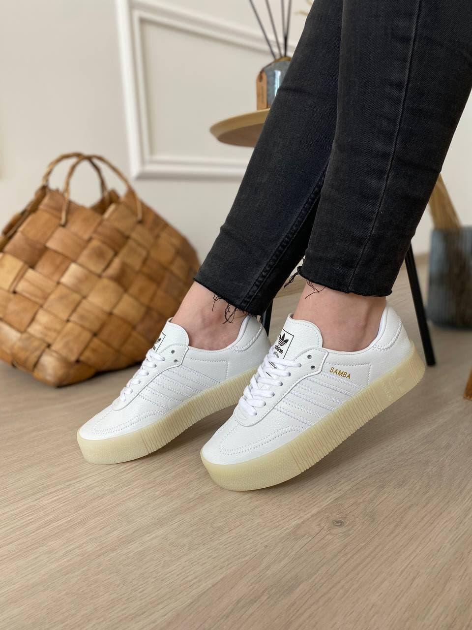 Женские кроссовки Adidas Samba White Brown Sole