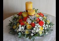 Свадебная композиция со свечами, оформление свадьбы цветами, Киев