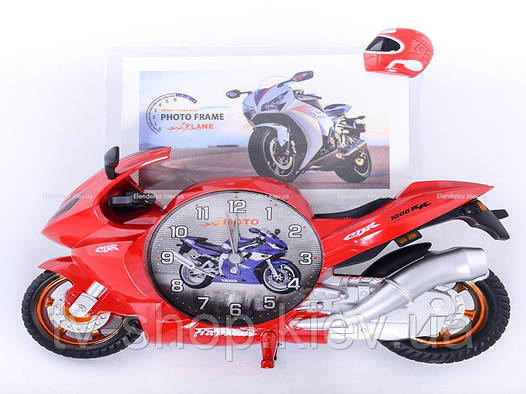 Фоторамка с часами Мотоцикл (красный,желтый,синий)