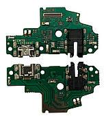 Нижняя плата Huawei P Smart S (2020) с конектором зарядки + микрофон + компоненты
