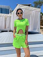 Жіночий літній прогулянковий костюм з укороченим топом і шортами (Норма), фото 2