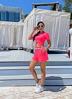 Жіночий літній прогулянковий костюм з укороченим топом і шортами (Норма), фото 4