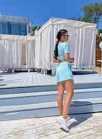 Жіночий літній прогулянковий костюм з укороченим топом і шортами (Норма), фото 7