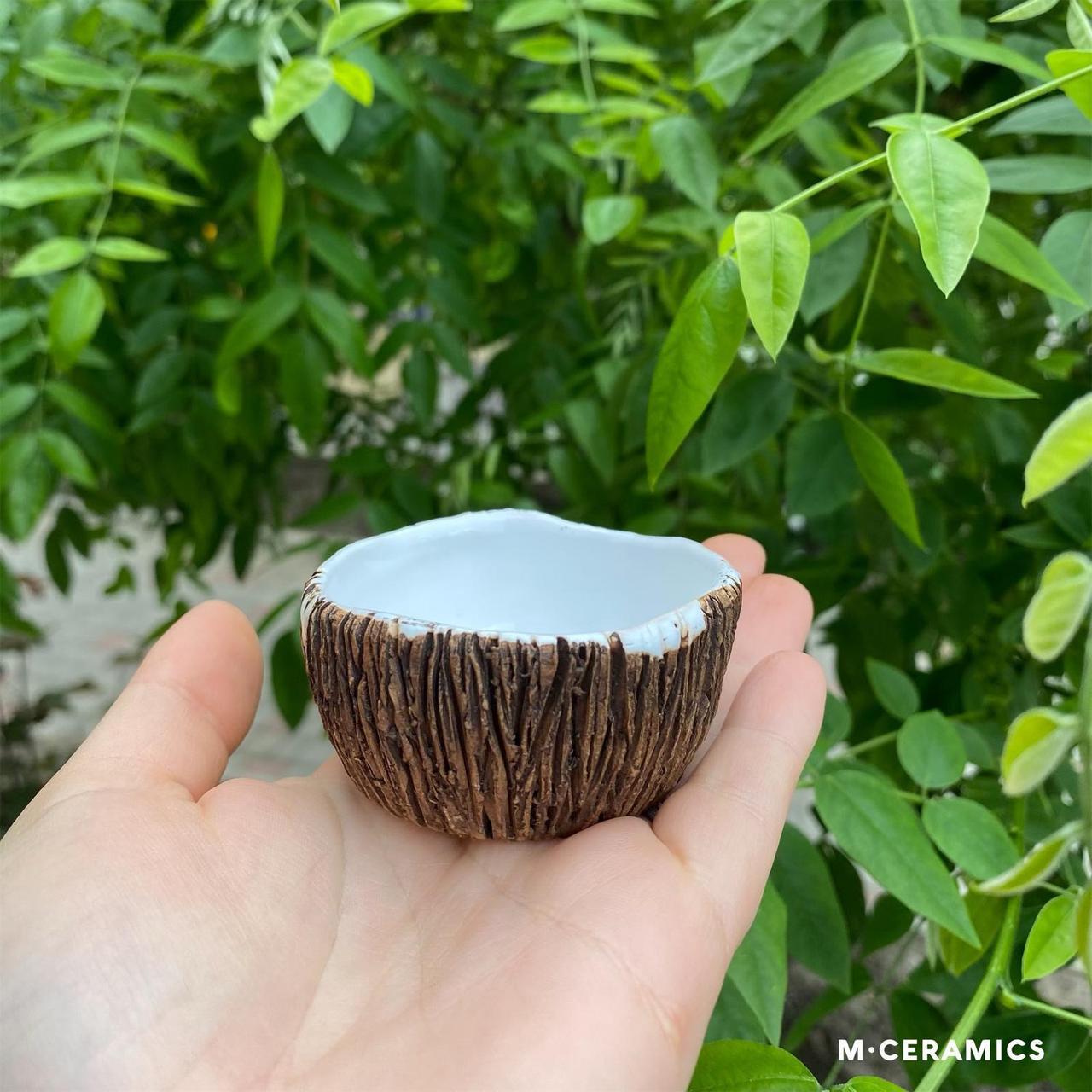 """Чайна міні піала """"Кокос"""" керамічна коричнева"""