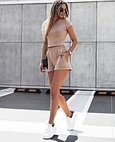 Жіночий прогулянковий костюм з укороченим топом і шортами з двунити (Норма), фото 6