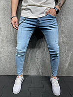 Мужские зауженные джинсы (голубые) рваные на лето S6125