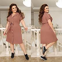 Сукня-сафарі з відкладним коміром і прорізними кишенями на гудзиках по всій довжині з костюмки літо, фото 2