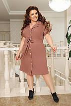 Сукня-сафарі з відкладним коміром і прорізними кишенями на гудзиках по всій довжині з костюмки літо, фото 3