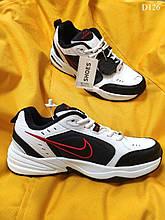 Чоловічі кросівки Nike Air Monarch IV (чорно-білі з червоним) якісне взуття для хлопців D126
