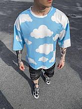 Чоловіча футболка з хмарами (блакитна) бавовняна на літо Ѕк49_футб