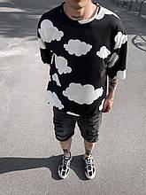 Чоловіча футболка з хмарами (чорно-біла) бавовняна на літо Sf205