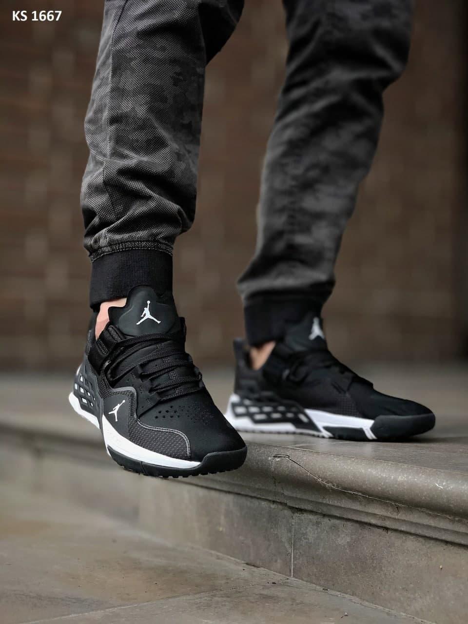 Чоловічі кросівки Nike Zoom Jordan Alpha 360 (Чорні з білим) KS 1667 легка спортивна взуття