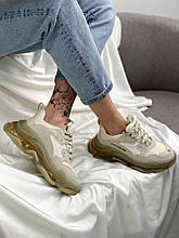 Жіночі кросівки Balenciaga Triple S Transparent Crystal (бежевий) BL001 крута взуття з підошвою багатошарової