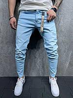 Мужские зауженные джинсы (голубые) рваные на лето S6154
