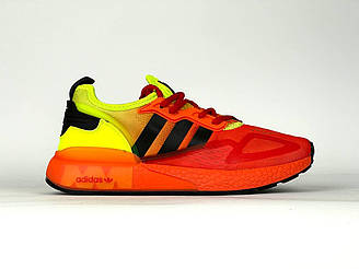 Мужские кроссовки Adidas ZX 2k Boost (оранжевый с салатовым) DА1184 весенние стильные спортивные кроссы