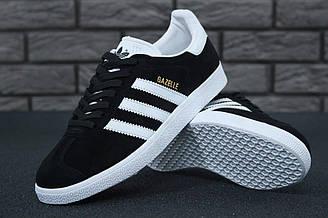 Мужские кроссовки Adidas Gazelle (Чёрные с белым) К11205 качественные летние кеды