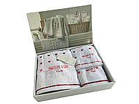 Набор полотенец Maison D'or Candy White Red махровые 32-50 см,50-90 см,70-140 см белые