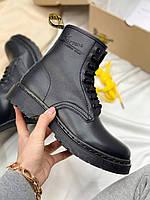 Женские ботинки Dr.Martens 1460 Total Black (черные) демисезонная качественная обувь DR007
