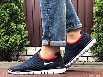 Мужские кроссовки Nike Free Run 3.0 (темно-синие с белым и красным) B10544 качественная обувь