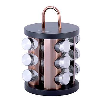 Баночки для спецій на підставці Kamille 100млх12шт 22х19х19см KM7034