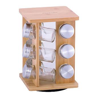 Баночки для спецій на дерев'яній підставці Kamille 100млх12шт 23.5х15.5х15.5см KM7035