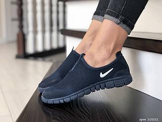 Женские кроссовки Nike Free Run 3.0 (темно-синие) B10551 стильные молодежные кроссы с белым логотипом