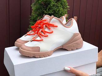 Женские кроссовки Dior (белые с оранжевым) B10554 стильные качественные весенние кроссы