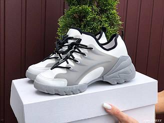 Женские кроссовки Dior (белые с серым) B10555 спортивные качественные весенние кроссы