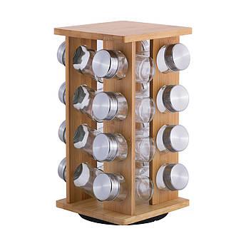 Дерев'яний органайзер для спецій Kamille 100млх16шт 29.5х15.5х15.5см KM7042